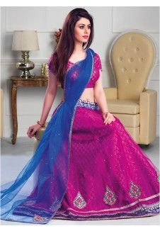 Glorious Magenta And Blue Net With Embroidery Work Lehenga Choli. Buy Designer Fancy A Line lehenga Choli In Canada. Bridal Sari, Bridal Lehenga Choli, Blue Bridal, Blue Lehenga, Net Lehenga, Wedding Lehenga Online, Bollywood Designer Sarees, Sarees Online India, Indian Clothes Online