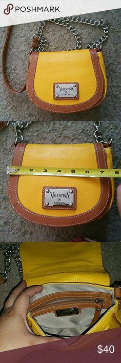 Valentina italia crossbody bag Like new yellow italian leather bag. Perfect for on the go valentina  Bags Crossbody Bags
