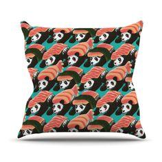 """Tobe Fonseca """"Sushi Panda"""" Orange Blue Throw Pillow"""