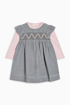 Teal Shirred Cord Dress And Bodysuit (0mths-2yrs)