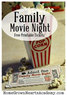 Family Movie Night Free Printable Tickets