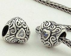 Pandora 925 Silver beads Crystal Transparent Charms XS042A