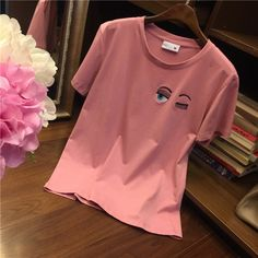 Buy Online Cheap Flirting T-shirt Palace-level ghost design eyelash blink embroidery steady pink short-sleeved T-shirt spring and summer new women's fashion Slim round neck pink Spring Shirts, Pink Shorts, Embroidery, Eyes, Celebrities, Sweatshirts, Womens Fashion, Sweaters, T Shirt