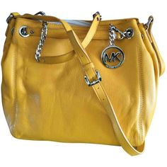 Pre-owned Michael Kors Leather Satchel (1.085 BRL) ❤ liked on Polyvore featuring bags, handbags, women bags handbags, yellow, michael kors handbags, michael kors purses, leather hand bags, handbag purse and brown satchel purse