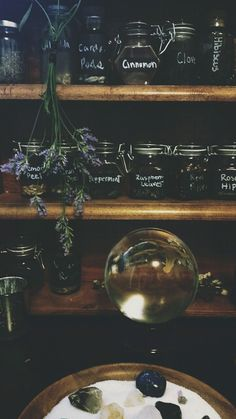 A lovely home apothecary with jars filled with herbs and spices