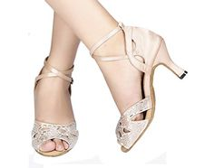 Salabobo AQQ70211 Womens Latin Tango Ballroom Dance Party wedding Flared Heel Peeptoe Satin Danceshoes Pink US Size105 -- Check out this great product.(This is an Amazon affiliate link and I receive a commission for the sales)