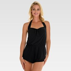 f4e14f0fcd1 Women s Swim Romper - Aqua Green® Black XL