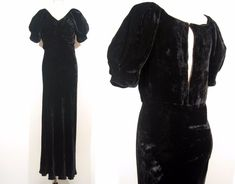 Vintage 1930's 1940's BLACK VELVET GOWN Vamp Keyhole Dress WWII Antique 30's 40s #Unbranded #EmpireWaist #Formal
