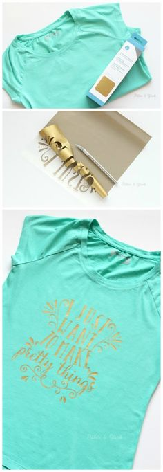 A plain tee and Heat Transfer can become a pretty graphic tee with the help of your Silhouette. pitterandglink.com