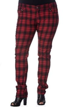 Black Red Tartan Check Punk Gothic Rockabilly Bondage Trousers Banned Apparel