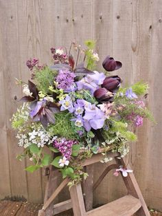 Purple spring wedding bouquet with aquilegia, tulips and lilac // Garden and Wild Purple Spring Flowers, Spring Wedding Flowers, Love Flowers, Beautiful Flowers, Beautiful Flower Arrangements, Floral Arrangements, Diy Wedding Reception, Wedding Ideas, British Flowers