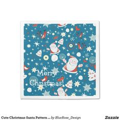Shop Cute Christmas Santa Pattern Napkins created by BlueRose_Design. Paper Napkins, Paper Plates, Raffle Prizes, Christmas Napkins, Cocktail Napkins, Vinyl Lettering, Party Printables, Colorful Backgrounds, Wedding Favors