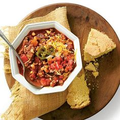 Beef-and-Black-Eyed-Pea Chili | This classic-tasting chili recipe will warm you up on a chilly night. | SouthernLiving.com