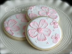 Brush Embroidery Cherry Blossom Cookies by Cookies with Character