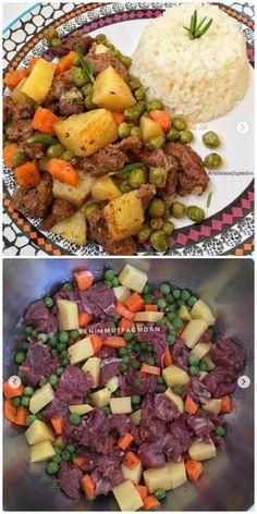 Meatballs and potatoes baked in the oven … A … – Meat Foods Vegetable Recipes, Meat Recipes, Cooking Recipes, Healthy Recipes, Iftar, Food Platters, Food Dishes, Food Food, Plats Ramadan