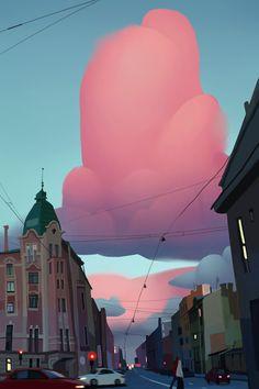 ArtStation - evening city, Lisa Parfenova