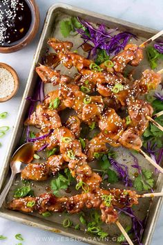 Chicken yakitori is an easy Japanese grilled recipe served on skewers. The meat is basted with a savory sweet sauce as it cooks over a hot barbecue grill. A quick appetizer for a crowd or dinner served with a few extra sides. Pork Rib Recipes, Grilled Chicken Recipes, Grilled Meat, Asian Recipes, Grilled Skewers, Grilled Vegetables, Healthy Grilling Recipes, Cooking Recipes, Vegetarian Grilling