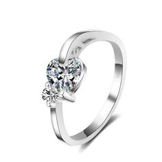 Sterling Silver Cute Heart Style CZ Band Ring Sz 6-9
