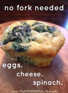 low carb spinach egg and cheese muffins (no flour) High Protein Recipes, Healthy Eating Recipes, Veggie Recipes, Low Carb Recipes, Snack Recipes, Cooking Recipes, Snacks, Spinach Salads, Spinach Egg