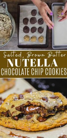 These brown butter Nutella chocolate chip cookies have golden brown edges and chewy centers that are filled Nutella! They're completely irresistible!! #nutellachocolatechipcookies #nutellastuffedcookies #nutellacookies Nutella Snacks, Desserts With Chocolate Chips, Best Chocolate Chip Cookies Recipe, Nutella Recipes, Best Cookie Recipes, Baking Recipes, Dessert Recipes, Cookies With Nutella, Nutella Stuffed Cookies