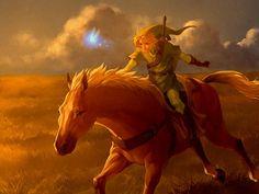 Epona, Link, and Navi. The Legend of Zelda: Ocarina of Time.