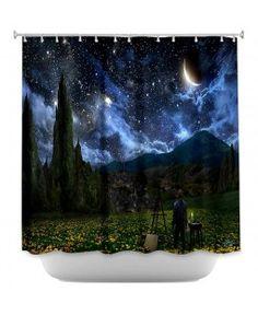 Shower Curtains Artistic Decorative Designer Unique | Alex Ruiz's Starry Night