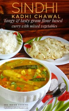 Authentic Sindhi Kadhi Chawal - Assorted Vegetables Cooked in Roasted Gram Flour Paneer Recipes, Curry Recipes, Indian Food Recipes, Vegetarian Curry, Vegetarian Recipes, Cookbook Recipes, Cooking Recipes, Gujarati Cuisine, Paneer Dishes