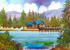 Original Watercolour Painting, Lake Tahoe,  California, America, Gift Idea, Art And Collectibles