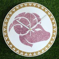 "Zodiac Sign ARIES Wall Clock DIA 12"" Inch Gold Glitter Colour: White Clock Hands"