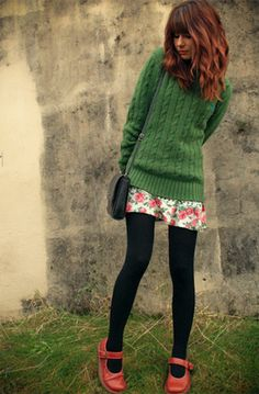 green sweater + dark