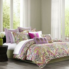 Brighten up your bedroom with the Vineyard Paisley duvet cover. It has a classic overscaled paisley design with a modern color palette of fuchsia, lavender, and shades of green that pops against bright white accents, creating the perfect balance of color.