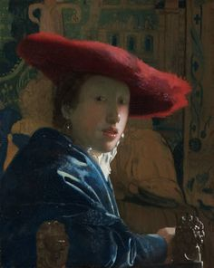 "One of the most beguiling Vermeer paintings, ""Girl with the Red Hat"" stares intently at the viewer.  Read more about her: http://www.themasterpiececards.com/famous-paintings-reviewed/bid/75863/Vermeer-Paintings-Girl-with-the-Red-Hat"