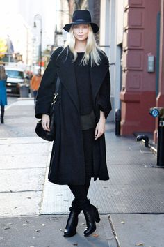 You can never go wrong in head-to-toe black. Joslyn Winkfield  - ELLE.com