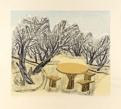 梅林と卓 - 前川千帆 1961 print