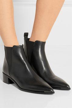 Acne Studios | Jensen black leather ankle boots with a subtle gunmetal trim | NET-A-PORTER.COM