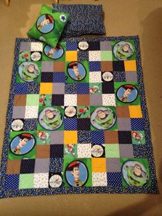 Toy story quilt boy toddler with toddler pillow and woody cushion