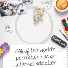 #5About Internet | 6% of the world's population has an internet addiction. Pin And Share!