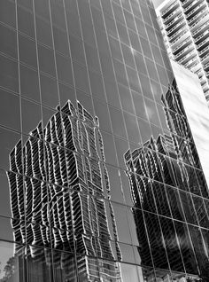 Builidungs reflected on other buildings Opera House, Miami, Buildings, Black And White, My Love, Creative, Black White, Blanco Y Negro, Opera