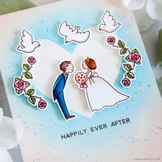 """Create a beautiful handmade card to celebrate the happy, new couple with the """"Wedding Day"""" stamp and die set from Waffle Flower Crafts! Wedding Cards Handmade, Beautiful Handmade Cards, Cool Birthday Cards, Happy Wedding Day, Flower Cards, Happily Ever After, Diy And Crafts, Projects To Try, Card Making"""
