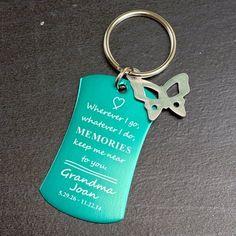 Engraved Memorial Key Chain-Memorial Charm Key Ring