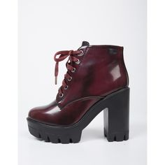 Chunky Lace-Up Boots ($36) ❤ liked on Polyvore featuring shoes, boots, lace-up platform boots, patent leather boots, bamboo boots, lug sole platform boots and platform shoes