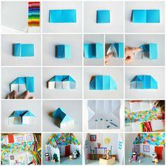 Origami Dolls House. Step-by-step tutorial via Craft.tutsplus.com.