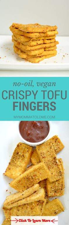 No oil, 3 ingredient, crispy, baked tofu fingers! This is seriously the best way to eat tofu! Youre going to be amazed at how crunchy these vegan chicken fingers are and their oil free!! These are perfect when youre on Dr. Fuhrmans nutritarian diet plan! #health #fitness #weightloss #healthyrecipes #weightlossrecipes
