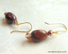 Dark red and gold earrings African bloodstone by EyeCandybyCathy on ETSY, $15.00