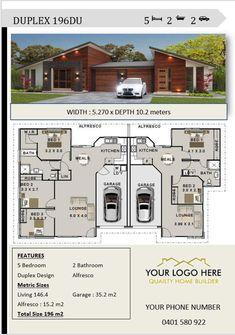 Architecture Design for Australian Builders & Contractors Duplex Design 196 DU --------------------- Duplex House Plans, Dream House Plans, House Floor Plans, Dream Houses, Contemporary House Plans, Modern House Plans, Modern House Design, Architecture Design, Plans Architecture