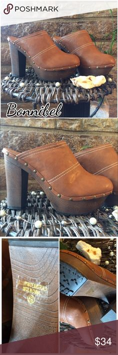 """Bonnibel Platform Clogs - NWOB Adorable and brand new. 4"""" wedge with a faux wood bottom tacks around for accents and full grip bottoms for non skid. Bonnibel Shoes Platforms"""