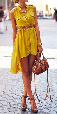 Steal The Fashion: Mustard hi lo dress