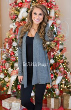 Open Front Cardigan - Sequin Elbow Patch - Mocha  ✨Apply Laurenhrep for a 10% discount at checkout!✨