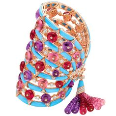 One-of-a-kind bracelet from Bulgaris High Jewelry Collection in pink gold with turquoise, tourmaline, garnet, amethyst and diamonds.