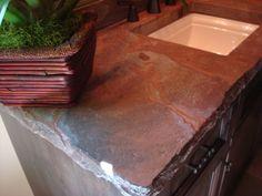 Rough edge concrete countertop